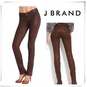 NWOT J Brand Brown Coated Pencil Skinny Jeans
